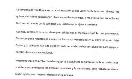 Comunicado a la opinión pública de Ivan Duque