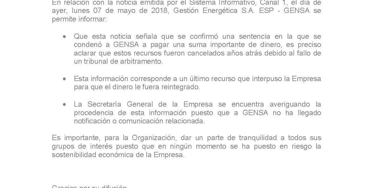 GENSA RECTIFICA INFORMACIÓN