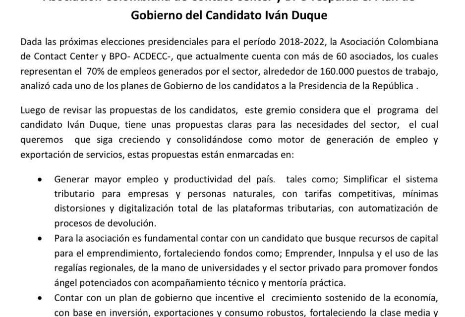 Asociación Colombiana de Contact Center y BPO apoyan plan de gobierno de Iván Duque