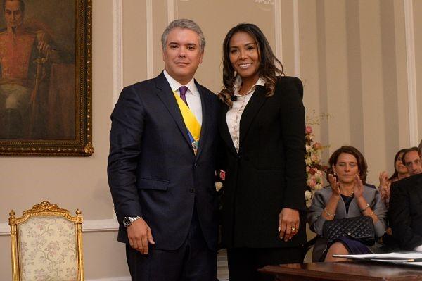 El Presidente de la República, Iván Duque, y la Ministra de Cultura, Carmen Vásquez