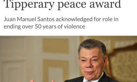 Presidente Santos recibe el Premio Internacional de Paz Tipperary en Irlanda por la tarea para poner fin al conflicto