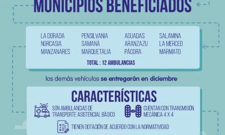 GOBIERNO DE CALDAS RENUEVA PARQUE AUTOMOTOR DE HOSPITALES DE CALDAS CON LA ENTREGA DE 22 AMBULANCIAS BÁSICAS. 3.960 MILLONES DE PESOS INVIERTE LA ADMINISTRACIÓN DEPARTAMENTAL, QUE YA ENTREGÓ 12 VEHÍCULOS