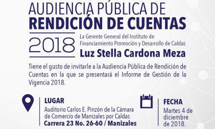 INFICALDAS. INVITACIÓN AUDIENCIA PÚBLICA DE RENDICIÓN DE CUENTAS 2018