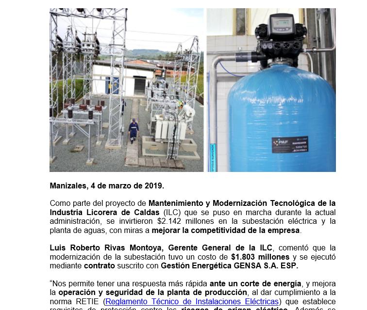 INDUSTRIA LICORERA DE CALDAS MODERNIZA LA SUBESTACION ELECTRICA