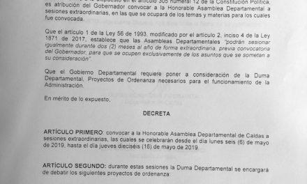 Instalación del segundo periodo de sesiones Extraordinarias de la Asamblea Departamental de Caldas.