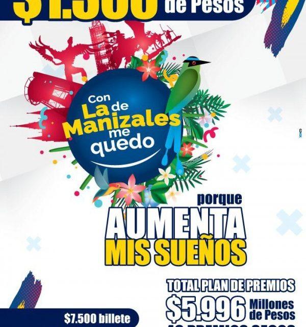 LA LOTERÍA DE MANIZALES AUMENTARÁ SU PLAN DE PREMIOS A $5.996 MILLONES