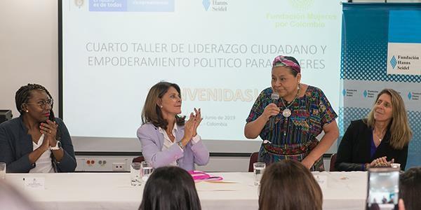Premio Nobel de Paz, Rigoberta Menchú, acompañó el cuarto taller de empoderamiento político realizado en la Vicepresidencia de la República