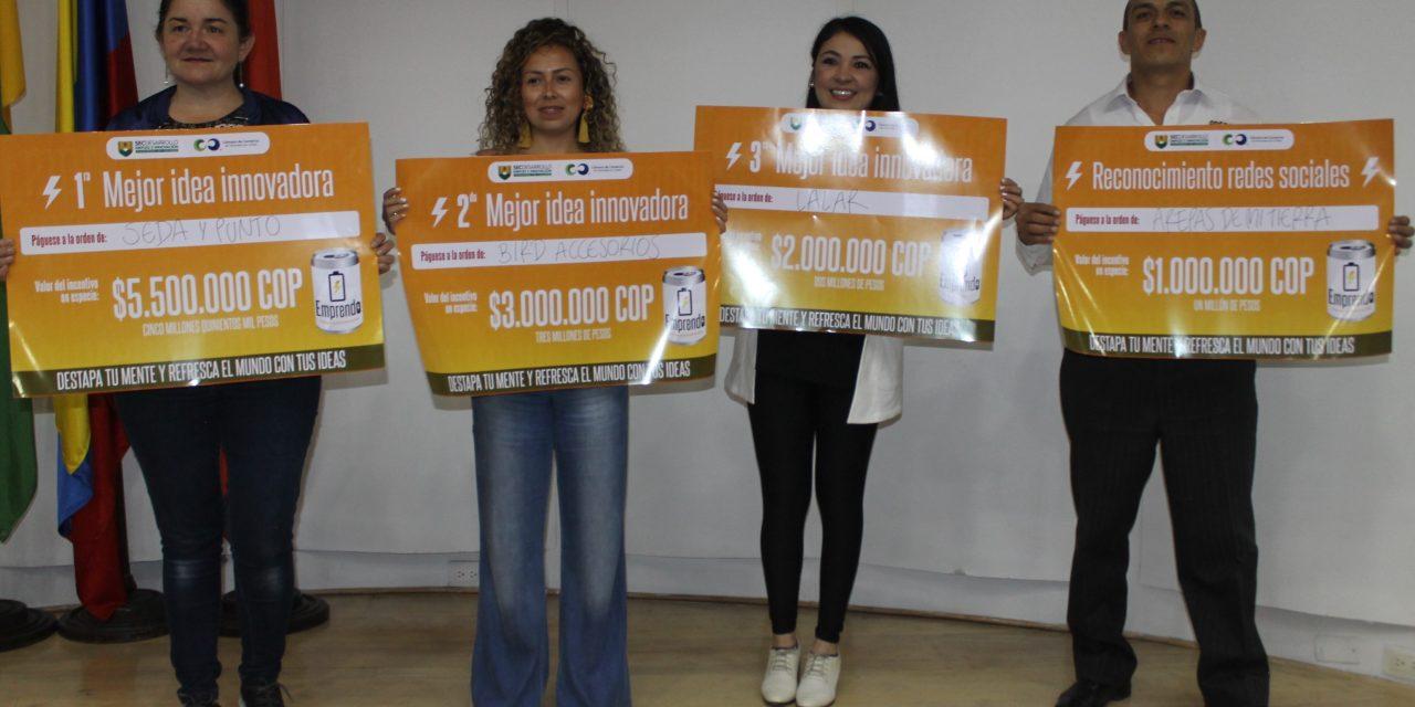 Concurso Emprendo premió a las mejores propuestas innovadoras de los municipios de Caldas