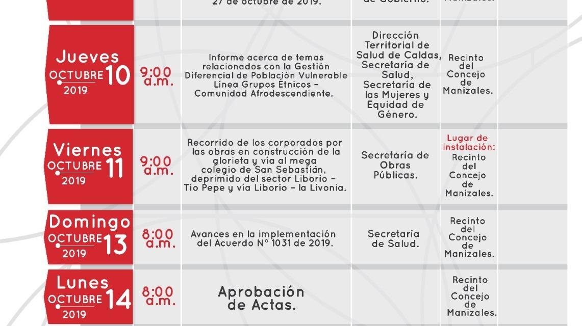 SESIONES DEL CONCEJO DE MANIZALES DEL  9 AL 15 DE OCTUBRE