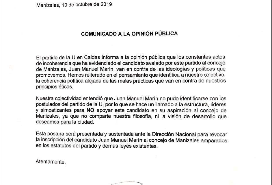 COMUNICADO DEL PARTIDO DE LA U
