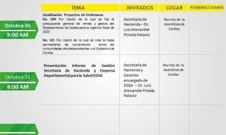 CRONOGRAMA DE LA ASAMBLEA DE CALDAS MARTES,MIERCOLES Y JUEVES