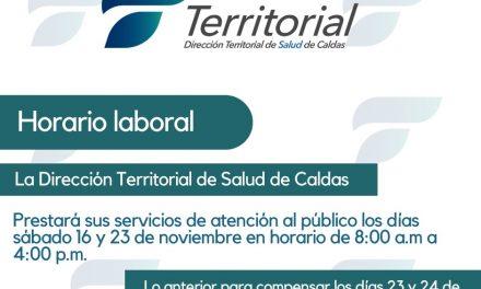 NUEVO HORARIO EN LA DIRECCIÓN TERRITORIAL DE SALUD DE CALDAS