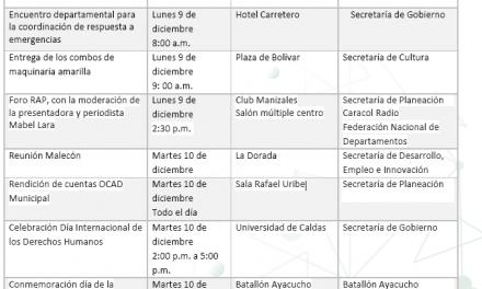 ACTIVIDADES DE LA ADMINISTRACIÓN DEPARTAMENTAL DEL 09 AL 13 DE DICIEMBRE DE 2019