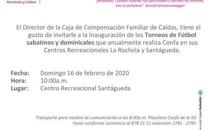 Invitación Inauguración Torneos de Fútbol sabatinos y dominicales Confa