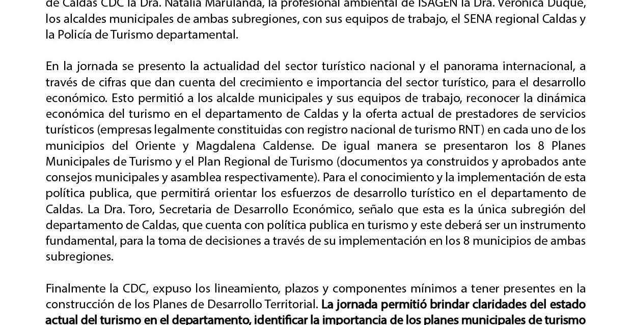 EL TURISMO EN EL ORIENTE DE CALDAS Y EN EL MAGDALENA MEDIO