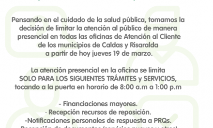 A PARTIR DE HOY HAY LIMITACION DE ATENCION DE PUBLICO DE MANERA PRESENCIAL