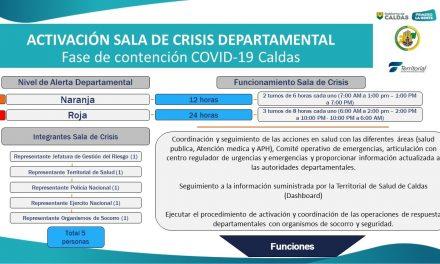 GOBIERNO DE CALDAS ACTIVÓ DE MANERA PERMANENTE LA SALA DE CRISIS DEPARTAMENTAL. DESDE ALLÍ SE COORDINARÁN LAS OPERACIONES DE RESPUESTA ANTE EL CORONAVIRUS CON ORGANISMOS DE EMERGENCIA, SOCORRO Y SEGURIDAD