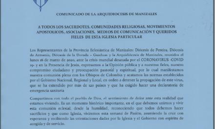 COMUNICADO DE LA ARQUIDIÓCESIS  DE MANIZALES