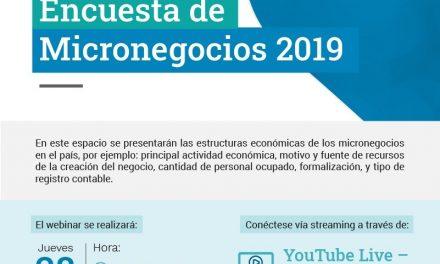 Invitación al webinar » Resultados Encuesta de Micronegocios 2019″ por parte del DANE