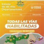 COMBOS DE MAQUINARIA CONTINÚAN CON EL MANTENIMIENTO PERIÓDICO DE LAS VÍAS DE CALDAS, QUE ESTÁN TRANSITABLES EN SU TOTALIDAD