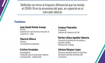 Invitación al webinar «Efecto diferencial del COVID-19 en el mercado laboral de las principales ciudades del país» martes 15 de diciembre 3:30 pm