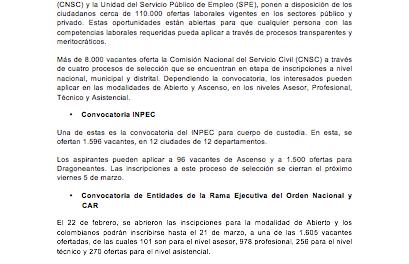 Cerca de 110.000 ofertas de empleo están disponibles en la CNSC y la Bolsa Única de Empleo