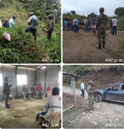 Ejército en Caldas continúa trabajando en territorios afectados por la violencia • Este viernes 16 de abril en la vereda El Congal se hará la entrega de títulos de propiedad.