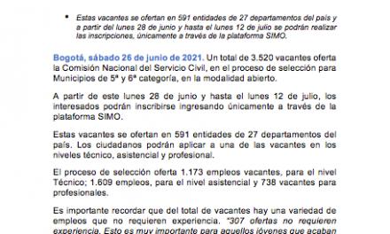 Más de 3.000 empleos vacantes en municipios de 5ª y 6ª categoría en el país oferta la CNSC