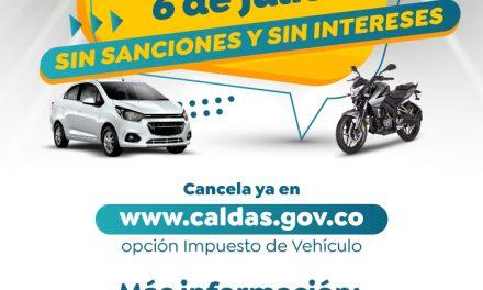 PUBLICIDAD PAGO IMPUESTO DE VEHÍCULOS  DE C ALDAS